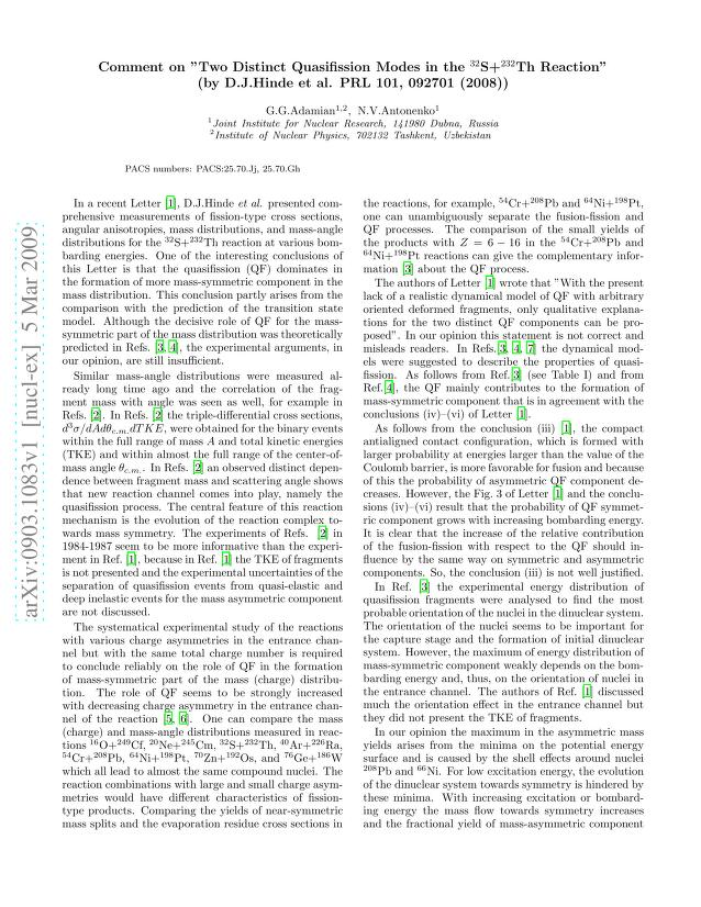 "G. G. Adamian - Comment on ""Two Distinct Quasifission Modes in the 32S+232Th Reaction"" (by D.J.Hinde et al. PRL 101, 092701 (2008))"