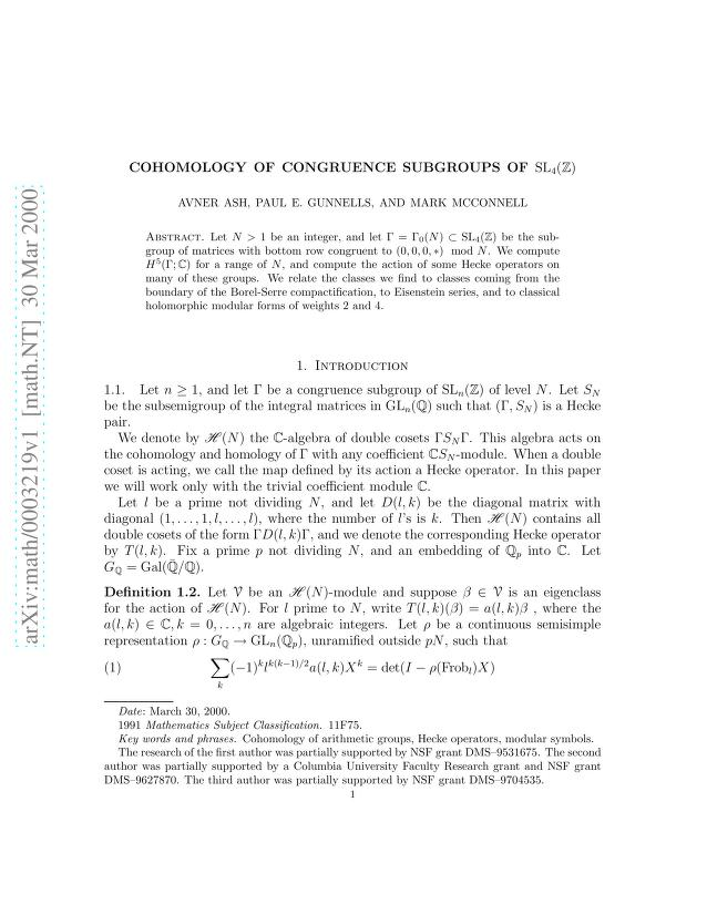 Avner Ash - Cohomology of congruence subgroups of SL(4,Z)