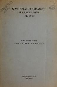 Cover of: National research fellowships, 1919-1938 | National Research Council.