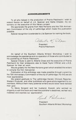 Cover of: Prairie patchwork. -- | Southern Alberta Writers' Workshop